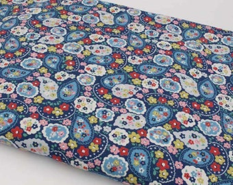 4216 - Cath Kidston Mini Paisley (Dark Blue) Cotton Canvas Fabric - 57 Inch (Width) x 1/2 Yard (Length)