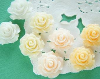 12 pcs Beautiful Rose Cabochon (18mm19mm) FL451 White Set