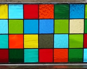 """Stained Glass Panel - """"Multicolor Squares"""" (P-52)"""