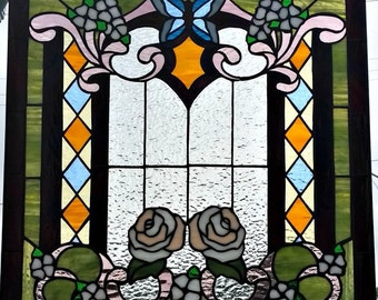 "Stained Glass Window - ""Victorian flowers & butterfly"" (W-104)"