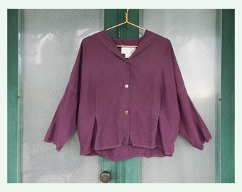 Angelheart Designs Jeanne Engelhart 1980s Retro 1910s Silk Blouse in Plum Purple Size Small