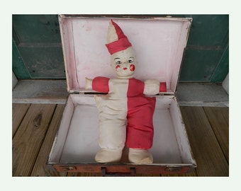 Funky Vintage Clown Doll Red & White