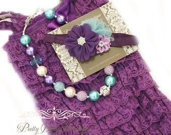 Baby Girl Party Romper Purple Lace Romper Headband Necklace SET, Purple and Blue Petti Romper And Infant Headband, Toddler Outfit