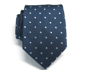 Mens Tie. Navy Blue Ice Blue Polka Dot Mens Necktie with Matching Pocket Square Option