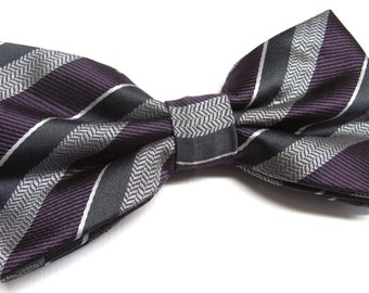 Mens Bowties. Gray Eggplant Purple Stripes Bowtie With Matching Pocket Square Option