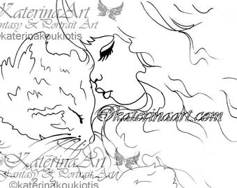 Kitty kisses animal colouring page INSTANT DOWNLOAD Digi Stamps  By Katerina Art