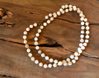 Tropical Summer Vacation Vintage Natural Mother of Pearl and Bead LONG Necklace