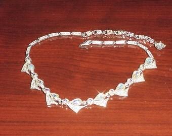 Bogoff Aurora Borealis Teardrop Rhinestone Necklace Fan Silver Tone