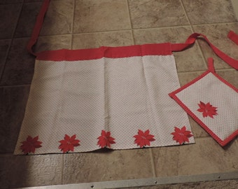 Child Apron with One Pot Holder: Red & White Polka-Dot Poinsettia