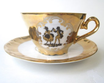 Dainty Gold White and Black Bavarian Tea Cup and Saucer