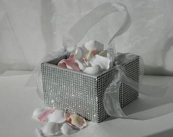 Flower Girl Basket + Silver Rhinestone wrapped wood Flower Girl Basket with ribbon Handle  (6 x 6)