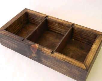 Rustic  Wood Box with Dividers  (12L x 6w x 2.5T)