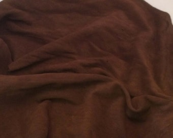SUEDE Chocolate Brown Lambskin Leather Hide Piece #3