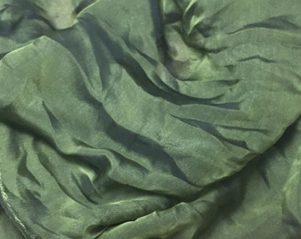 Iridescent OLIVE GREEN Silk CHIFFON Fabric - 1 Yard