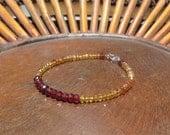 Garnet, Citrine, Hessonite Garnet Bracelet. Gemstone Bracelet.  Beaded Bracelet, Ladies Stone Bracelet.  Minimalist Bracelet