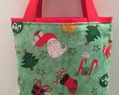 Christmas Gift Tote Bag, Keepsake Fabric Bag, Gift Wrap, Reusable