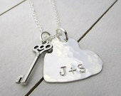 Personalized Heart Necklace and Silver Key Charm | Silver Heart | Couples Necklace | Engagement Gift | Sterling Silver