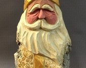 HAND CARVED original white & gold robe Santa from 100 year old Cottonwood Bark.