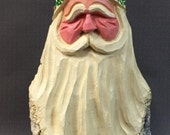 HAND CARVED original green hat Santa bust  from 100 year old Cottonwood Bark.