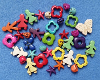 Rainbow Howlite Beads, Destash Assortment Mix - butterfly, skull, people, flower, starfish - 37 pieces