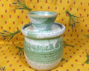 Handmade Pottery French Butter Crock White and Kiwi Green Ceramic Lidded Jar