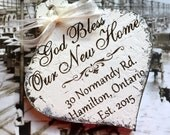 GOD BLESS Our New Home, Personalized Christmas Ornament, Shabby Chic Style Ornament, 3 1/4 x 5