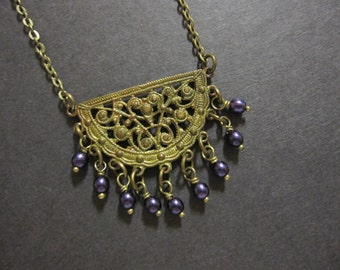 Bohemian Necklace, Boho Jewelry, Layering Necklace, Old Hollywood, Plum Beads, Purple, Vintage Inspired, Filigree Pendant, Antique Brass