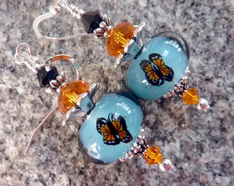 Monarch Butterflies in the Sky Earrings, Handmade Lampwork, Blue, Sterling Earwires, Gift for Her