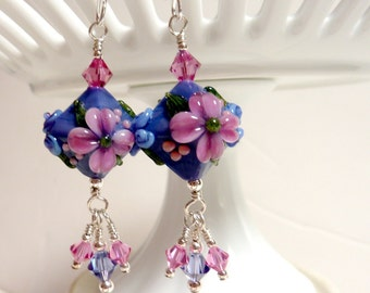 Pink on Purple Floral Diamond Earrings, Handmade lampwork, Flower Drop Dangle, Sterling Silver