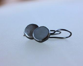 Black Silver earrings, eco friendly dangle earrings, Recycled sterling silver earrings, Handmade jewelry