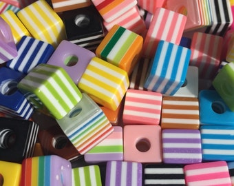 50 10mm x 9mm Cube Resin Striped Beads