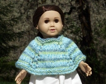 """18"""" Knitted Doll Poncho - Variegated Blues and Greens"""
