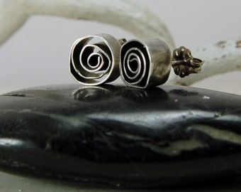 Abstract Roses Sterling Silver Posts Sculptural Silver Earrings Studs