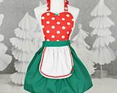 CHRISTMAS apron  MINNIE MOUSE apron womens  red  Polka Dots Christmas apron