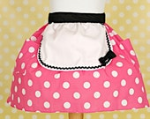 Minnie Mouse  apron womens half apron in red Polka dots party hostess apron or pink