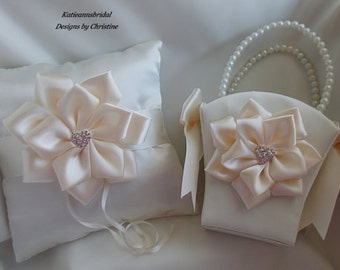Flower Girl Basket and Ring Bearer pillow Set Handmade Ivory Satin Flower Rhinestone Heart Charms Ivory Satin