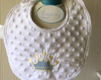 PERSONALIZED-Baby Bib-Prince-Charming-Crown-Minky-Boys-Toddler-Drool-feed-Newborn-essentials-accessories-Nurssery-Shower-Birthday-Gifts