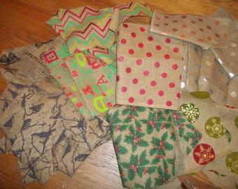 Print Burlap Scraps Fabric Destash Holiday Burlap Scraps