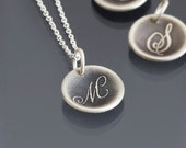 READY TO SHIP: Handwritten Script Initial Monogram Necklace - Etched Initial Pendant - Oxidized Sterling Silver