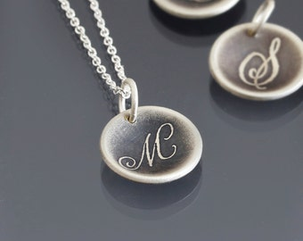 Handwritten Script Initial Monogram Necklace - Etched Initial Pendant - Oxidized Sterling Silver