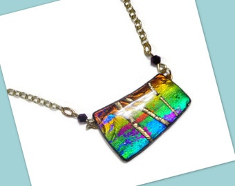 Abstract Statement Necklace- polymer clay Jewelry- Purple Rainbow Swarovski Necklace- Faux Dichroic Necklace
