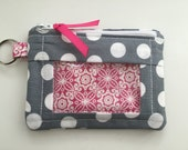 Zip ID Case in Gray and White Crazy Dot
