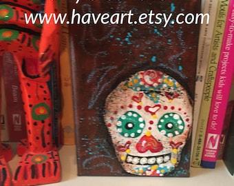 Dia de Muertos - Day of the Dead - Sugar Skull painting 4x6