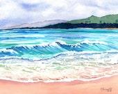 ocean watercolors, wailua beach kauai, paintings of kauai beaches,  hawaiian paintings, hawaii seascapes, watercolor artwork, kauai artist