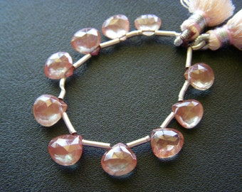 RESERVED - Natural Andesine Faceted Hearts - Full Strand - 7.5 to 9.5mm
