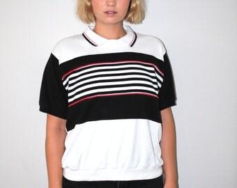 1980s striped tshirt black white + red ribbed polo shirt 80s vintage unisex grunge tee medium