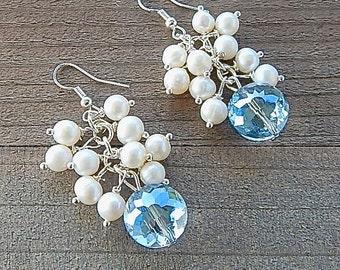 Freshwater Pearl Tassel Fringe Drop Earrings Aquamarine Blue Faceted Crystal Sterling Silver Ear Wires