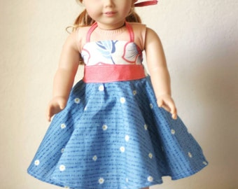 "18"" Doll Halter Twirl Dress, Daisies"