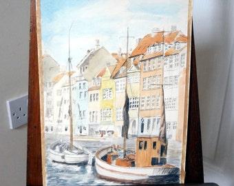 Watercolor Painting Harbour Fishing Boat Scene FR Startin UK Artist Beach Watercolour Nautical Sailboats Town View