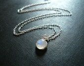 Moonstone Necklace. Little Moonstone Necklace. Tiny Moonstone Necklace, Sterling Silver Moonstone Necklace, Rainbow Moonstone Necklace